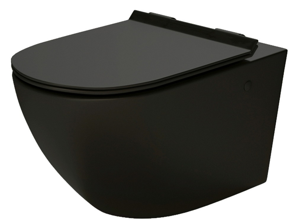 Massi Decos BLACK MATT WC misa závesná RIMLESS so sedátkom 55 x 36 x 38 cm